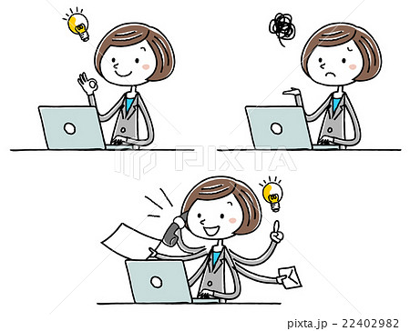 イラスト素材:ビジネス スーツの女性 パソコン 操作 バリエーション 22402982