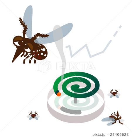 蚊取り線香と蚊のイラスト素材 22406628 Pixta