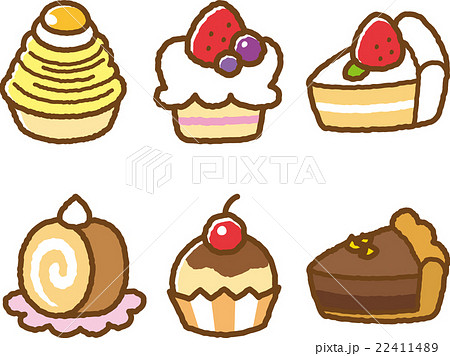 お菓子イラスト素材セットケーキのイラスト素材 22411489 Pixta