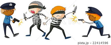 Policeman and criminal fighting 22414596