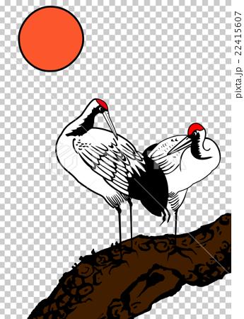 心形雙鶴松樹白鶴花鳥 22415607