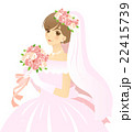 ウエディングドレスを着て、ブーケを持つ花嫁・背景なし 22415739