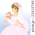 ウエディングドレスを着て、ブーケを持つ花嫁・背景あり 22415740