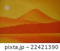 西湖から陽色に染まる朝日の富士 22421390