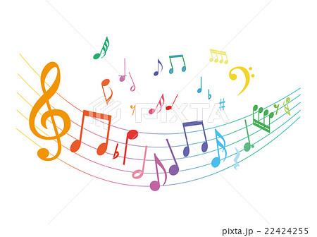 カラフルな音符のイラスト素材 22424255 Pixta