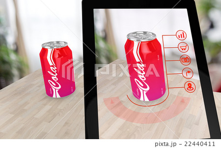 Augmented reality cola on a tableのイラスト素材 [22440411] - PIXTA