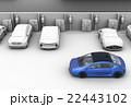 グレーシェーディングの駐車場に充電スポットを探している青色電気自動車 22443102
