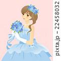ブルーのドレスの女性 カラードレス(青)の花嫁・新婦 背景あり 22458032