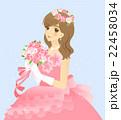 花嫁のイラスト ウエディングドレス(ピンク) 背景あり 22458034