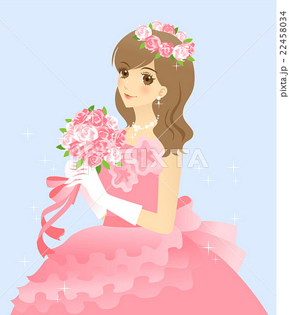 花嫁のイラスト ウエディングドレス(ピンク) 背景ありの