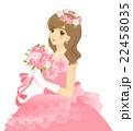 花嫁のイラスト ウエディングドレス(ピンク) 背景透過 22458035