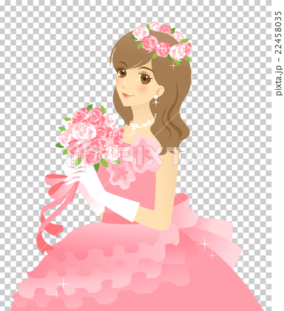 Bride's illustration wedding dress (pink) background transparent 22458035