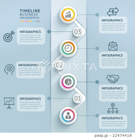 business timeline info graphic template のイラスト素材 22474419