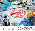 Diabetes diagnosis. Stamp, stethoscope, syringe 22475471