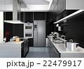 モノトーンテーマとしたアイランドシステムキッチンインテリアのイメージ 22479917