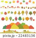秋の木々、葉、キノコ、どんぐりのイラストセット 22483136