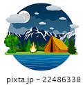 山 テント テント設営のイラスト 22486338