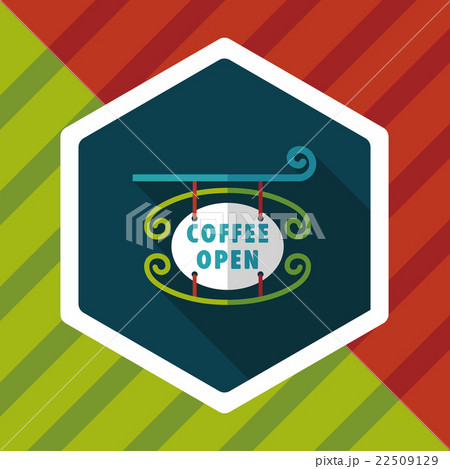 Coffee shop signs flat icon with long shadow,eps10のイラスト素材 [22509129] - PIXTA