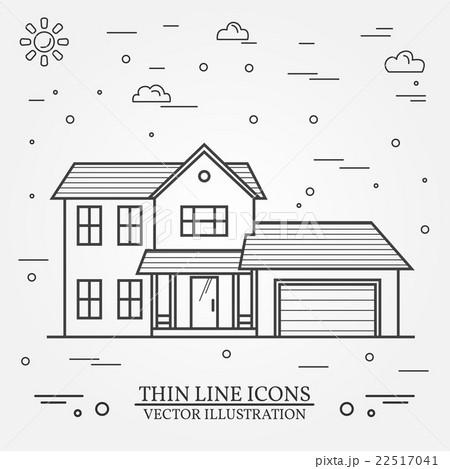 Vector thin line icon  suburban american house. のイラスト素材 [22517041] - PIXTA