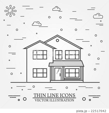 Vector thin line icon  suburban american house. のイラスト素材 [22517042] - PIXTA