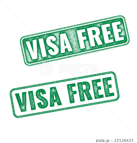 visa free green textured vector rubber stampのイラスト素材 22526425