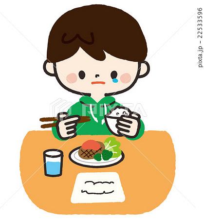 一人で食事する男の子 手作りごはん のイラスト素材