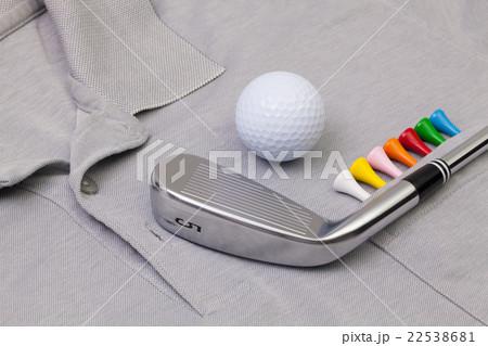 Grey polo shirt and golf equipmentsの写真素材 [22538681] - PIXTA