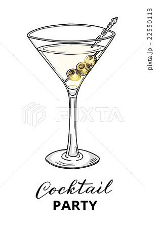 Hand drawn cocktail in martini glass with olivesのイラスト素材 [22550113] - PIXTA