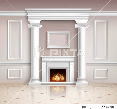 Classic Interior With Fireplace Design のイラスト素材 [22556796] - PIXTA