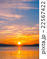 琵琶湖畔の朝日 22567422