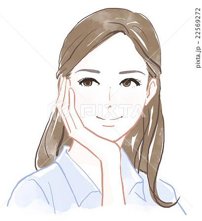 頬杖をつく女性のイラスト素材 22569272 Pixta