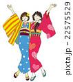 女性のイラスト(二人組仲良し女子旅)着物 22575529