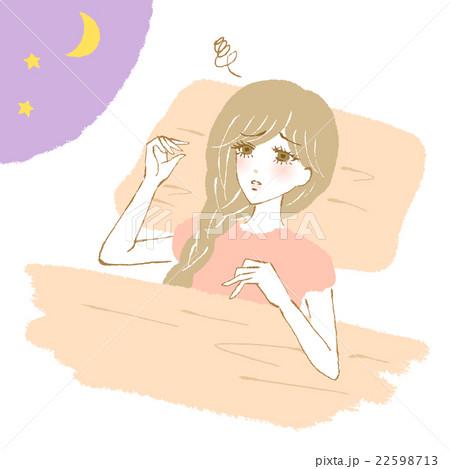 不眠で悩む女性のイラスト 22598713