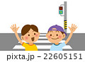 手を挙げて横断歩道を渡る小学生 22605151