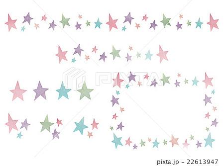 おしゃれでかわいい水彩風 カラフルな星のアイコン ライン フレーム