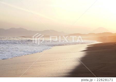 富士山と夕方の浜辺 22628171
