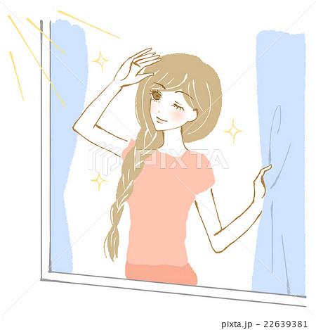 窓から日の光を浴びる女性のイラスト 22639381