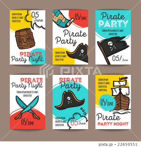 vector set of funny party flyers colorful doodleのイラスト素材