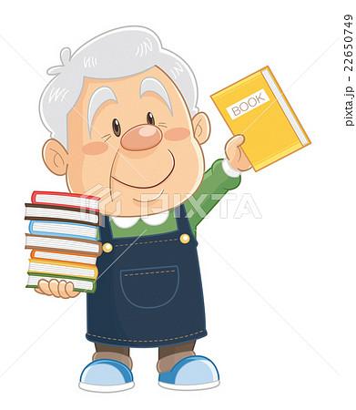 書店や図書館で本を整理するコミカルでかわいい人物イラスト|いわたまさよし 22650749