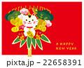 年賀状 招き猫の熊手 22658391