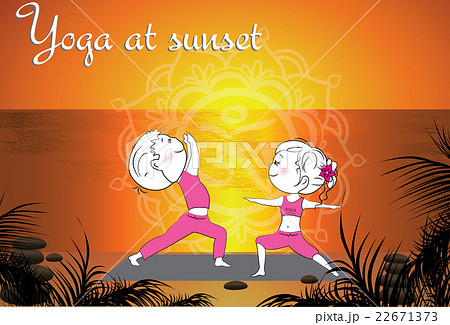 Couple doing yoga on the beach at sunsetのイラスト素材 [22671373] - PIXTA