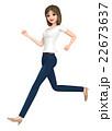 3D イラスト - 走っているTシャツとジーンズ姿の女性   22673637