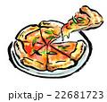 筆描き 食品 ピザ 22681723