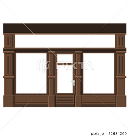 Shopfront with White Blank Windows. Wood Storeのイラスト素材 [22684269] - PIXTA