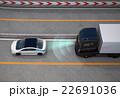 高速道路に自動ブレーキをかけるトラックのコンセプトイメージ 22691036