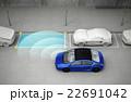 車載駐車支援システムで駐車する青い車 22691042