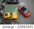 充電スタンドを備えた駐車場に自動駐車システムでバックする赤いクルマ 22691045