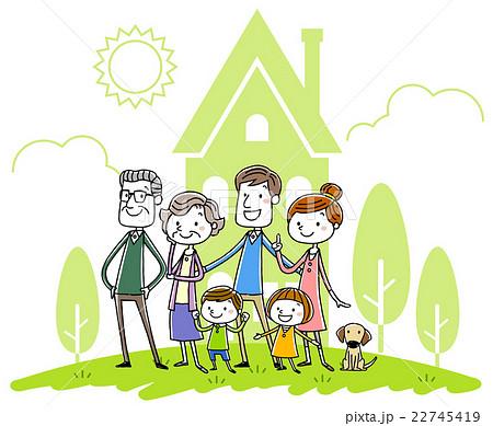 イラスト素材:家族と家 22745419