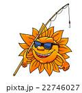 Cartoon sun in sunglasses with fishing rod 22746027