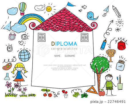 kids diploma preschool certificateのイラスト素材 22746491 pixta
